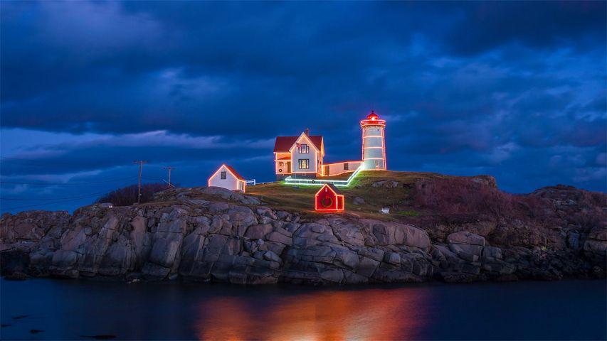 Holiday lights on Cape Neddick Light in York, Maine