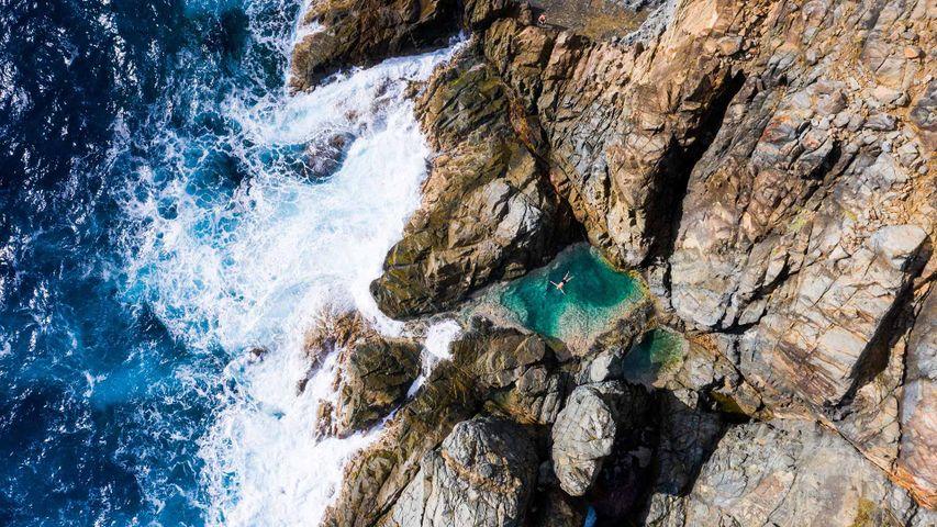 Piscine naturelle au nord-est de Saint Barthélemy, mer des Caraïbes, Antilles françaises