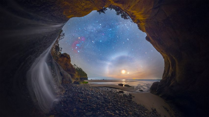 Moon dog photographed at Hug Point Falls on the Oregon coast