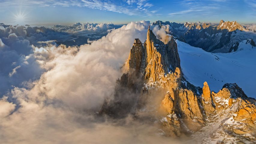 Aerial view of the Aiguille du Midi in the Mont Blanc massif, France