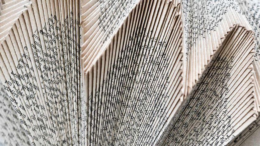 Structure décorative de pages de livres pliées, Angles-sur-l'Anglin, Vienne