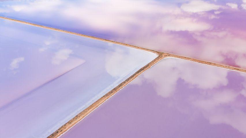 Aerial of pink salt lake in Lochiel, South Australia