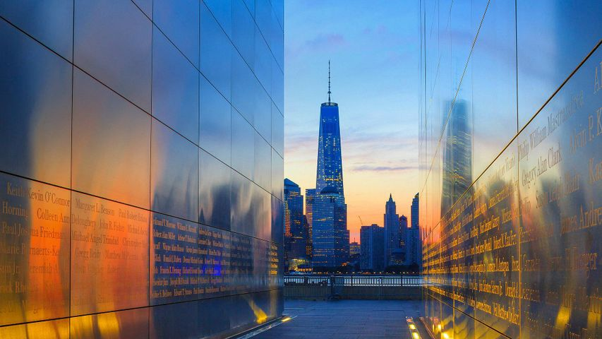 One World Trade Center and lower Manhattan, seen from the Empty Sky memorial in Jersey City, New Jersey