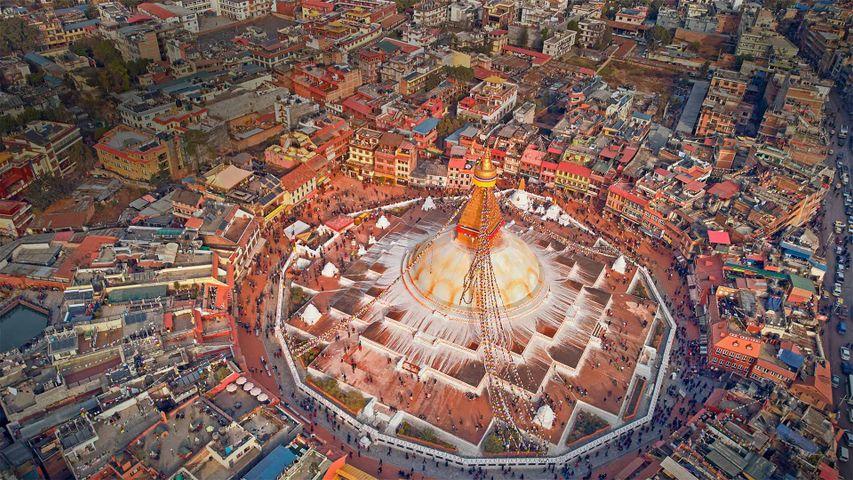 Aerial view of Boudhanath stupa in Kathmandu, Nepal