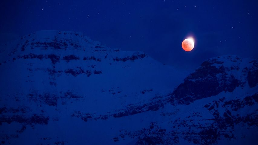 Night scenery with full noon, Mount Assiniboine Provincial Park, B.C.