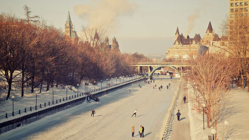Skating on the Rideau Canal during Winterlude in Ottawa