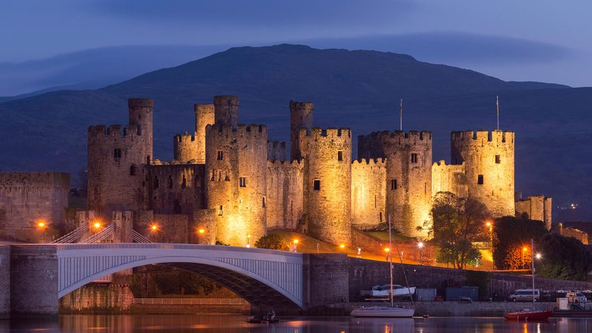 Conwy Castle illuminated at night, Conwy