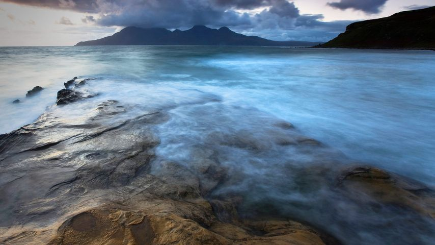 View towards Isle of Rum from Isle of Eigg in the Scottish Inner Hebrides
