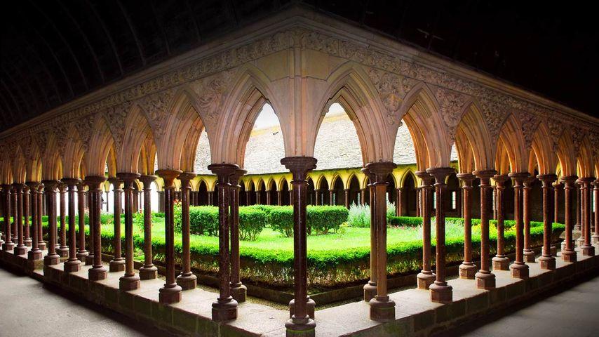Cloister of Mont Saint-Michel Abbey, France