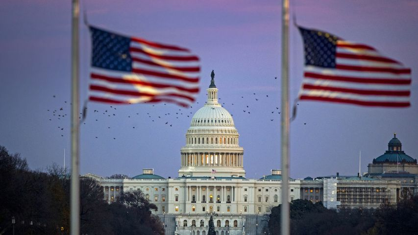 The US Capitol with flags at half-staff as former President George H.W. Bush lies in state at the Capitol rotunda, Washington, DC, on Dec 3, 2018