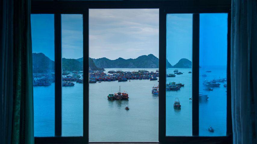 Boats off Cát Bà Island, Vietnam