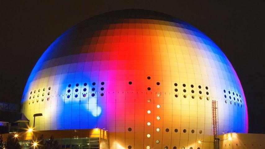 The Globe Arena at night in Stockholm, Sweden