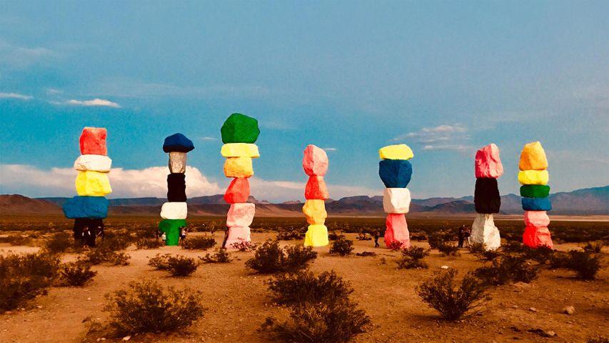 Seven Magic Mountains art installation, Jean Dry Lake, Nevada, USA