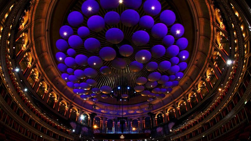 皇家阿尔伯特音乐厅顶部的吸声板,英国伦敦
