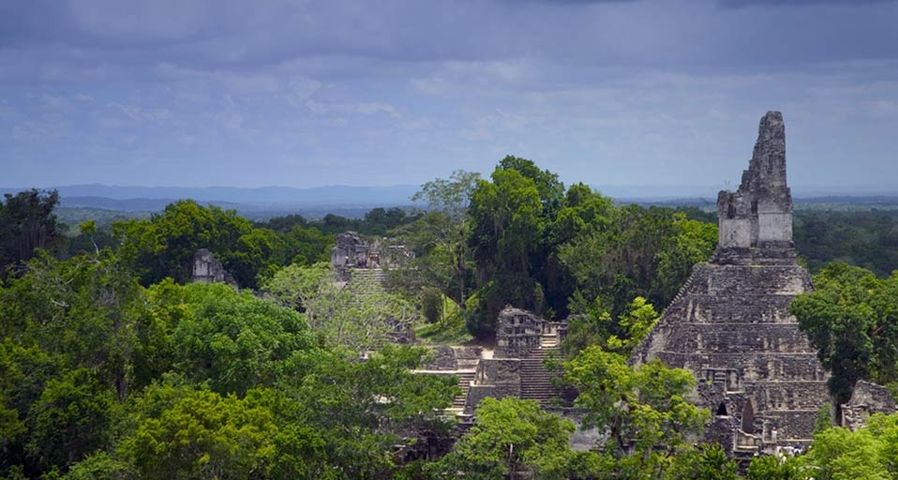 The Mayan ruins of Tikal rise from the jungle in Guatemala