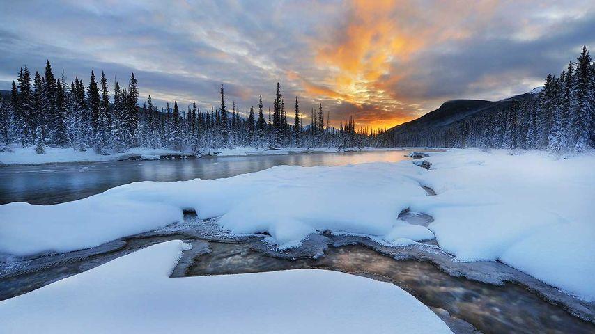 Sunrise at Castle mountain area of Banff national park, Alberta