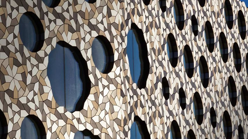 Ravensbourne college building on the Greenwich Peninsula, London