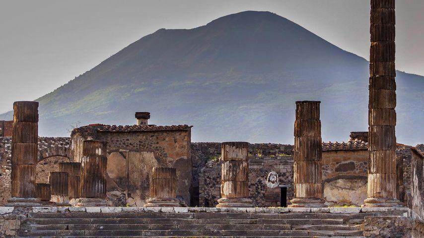 The Temple of Jupiter and Mount Vesuvius, Pompeii, Italy