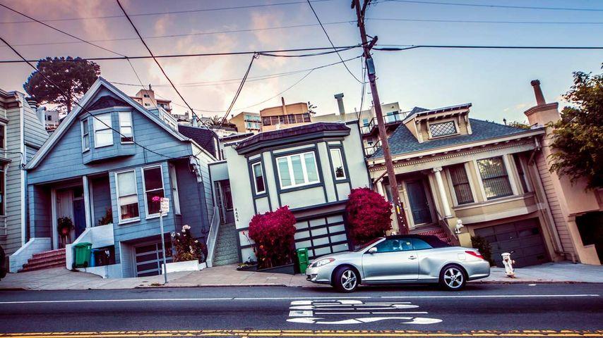 美国旧金山市的斜坡与房屋