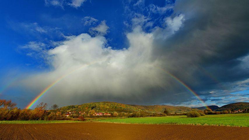 Rainbow over Pretzfeld, Franconian Switzerland, Bavaria, Germany
