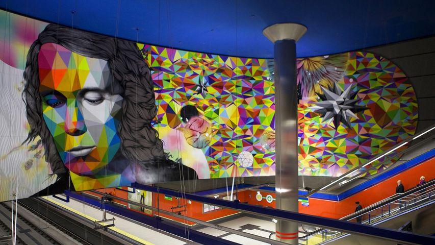 Mural de Paco de Lucía en la estación madrileña de metro que lleva su nombre