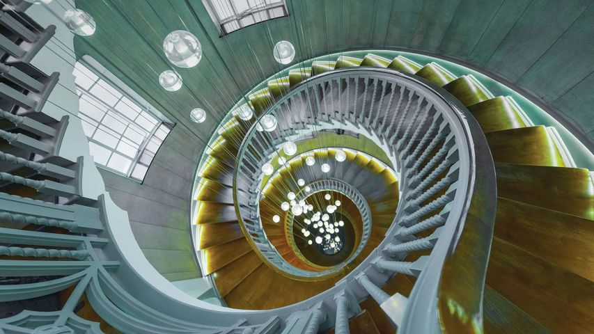 Cecil Brewer spiral staircase at Heal's furniture store, Tottenham Court Road, London