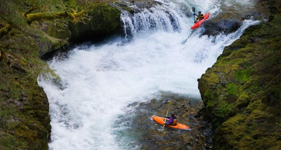 Kayakers on Eagle Creek in the Columbia River Gorge, Oregon