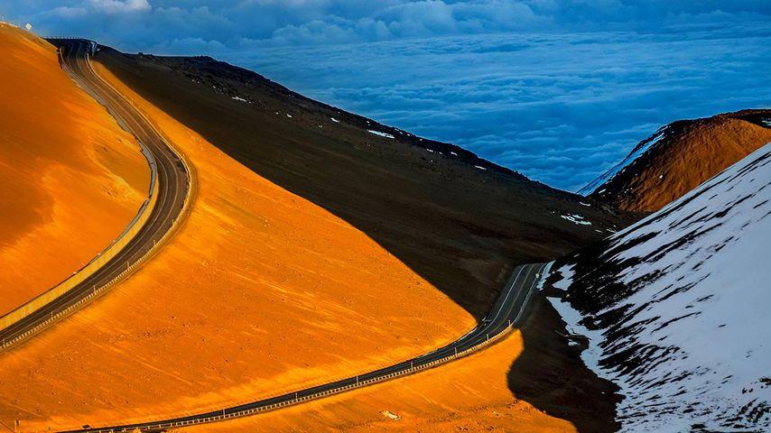 「マウナ・ケア山の道」アメリカ, ハワイ島