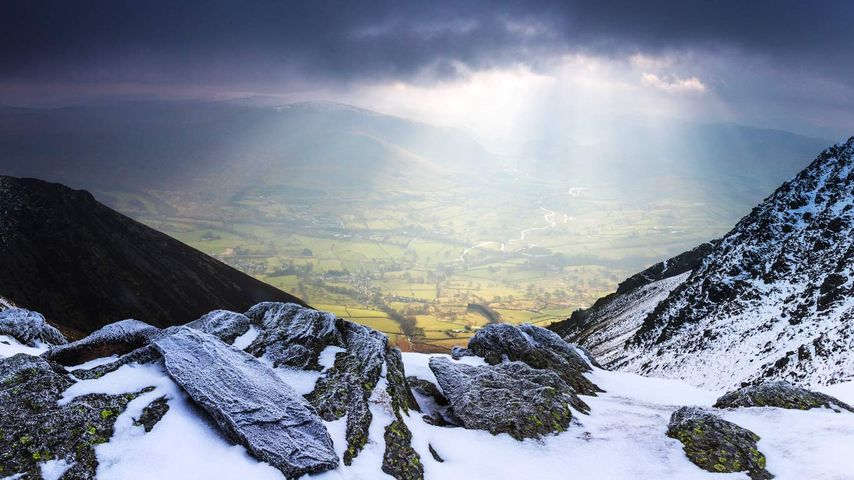 Looking down to St John's in the Vale, Lake District