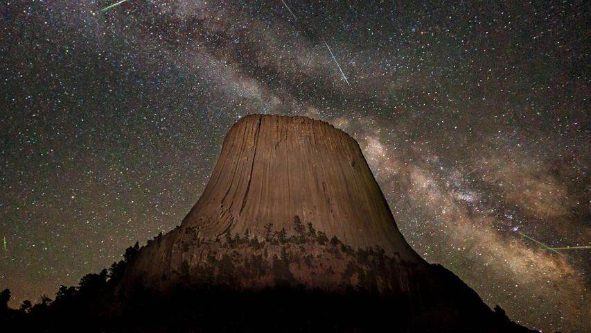 The Eta Aquarids Meteor Shower over Devils Tower in Wyoming, USA