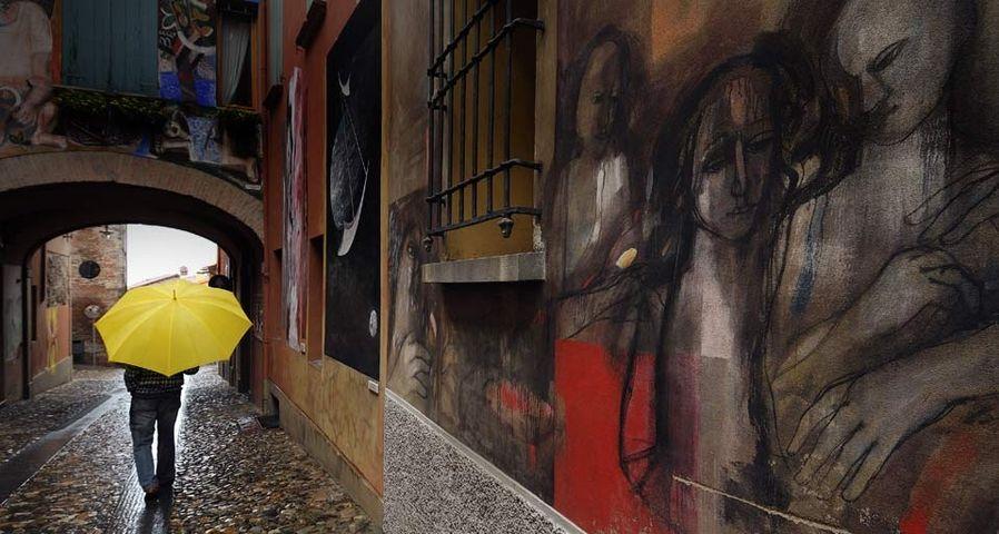 意大利小镇的涂鸦街