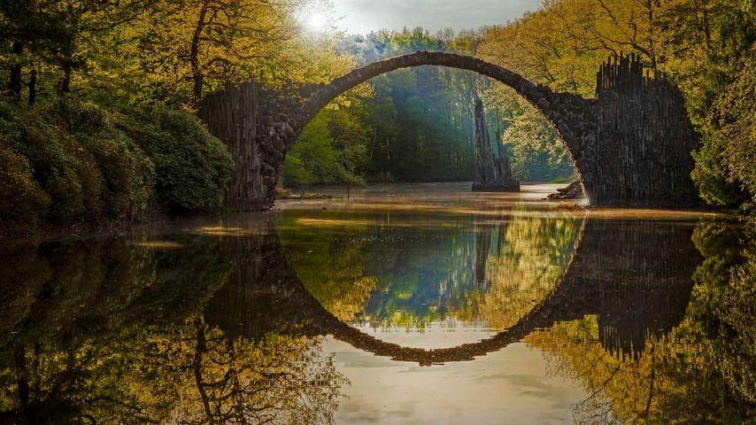 Rakotzbrücke aka the Devil's Bridge in Rhododendron Park, Kromlau, Saxony, Germany