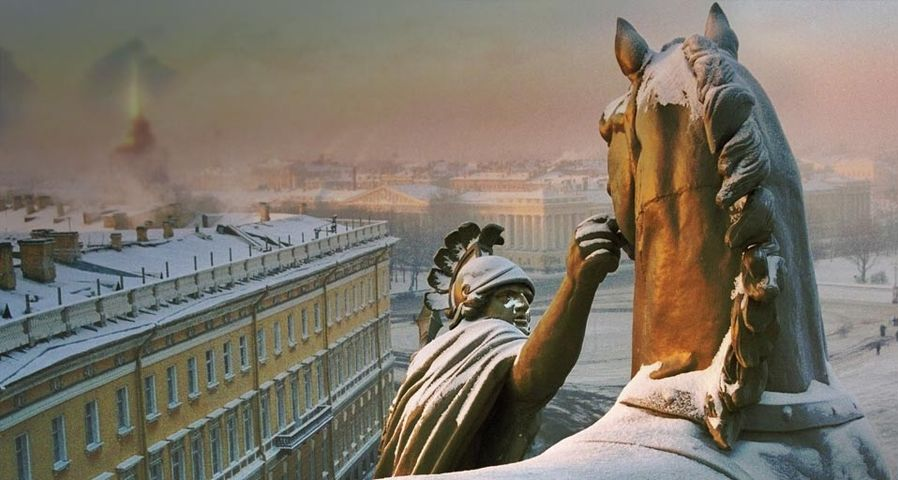 Palace Square atop the arch of the General Staff Building, Saint Petersburg, Russia