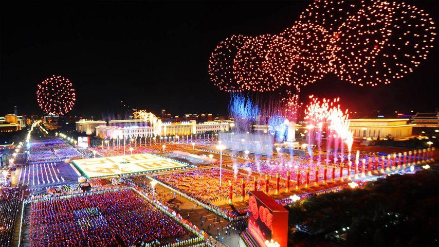 2009年10月1日国庆节,天安门广场上空的焰火 (© Yang Lei