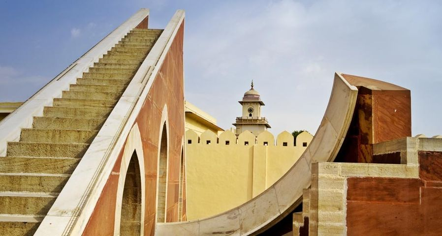 The Laghu Samrat Yantra sundial at the Jantar Mantar astronomical observatory, built in the early 1700's, in Jaipur, Rajasthan, India