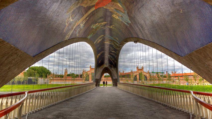 Puente de Matadero with mural by artist Daniel Canogar in Madrid, Spain