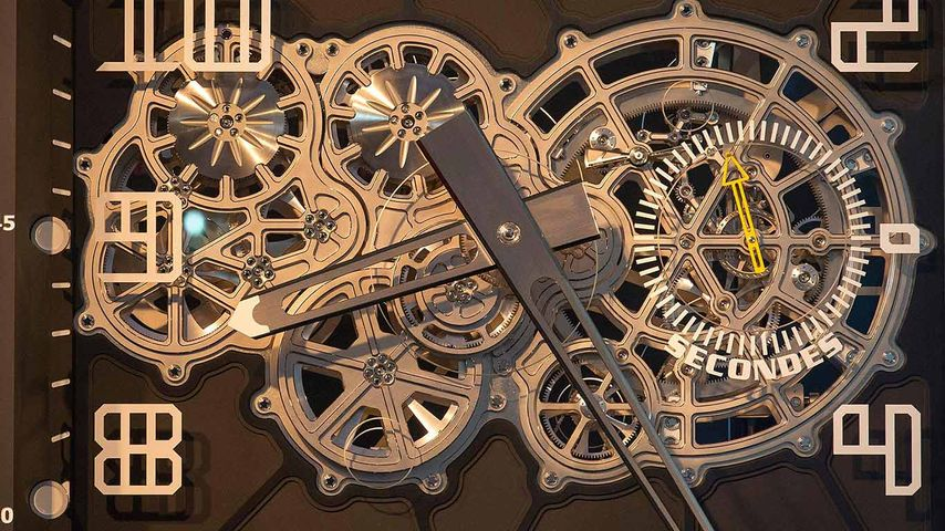 The Swiss 'lucky charm' clock is displayed in the technical occupation school in Porrentury, Switzerland