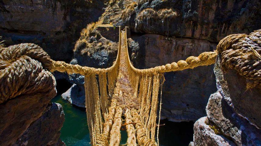 Hängebrücke Qu'eswachaka über den Rio Apurimac, Peru