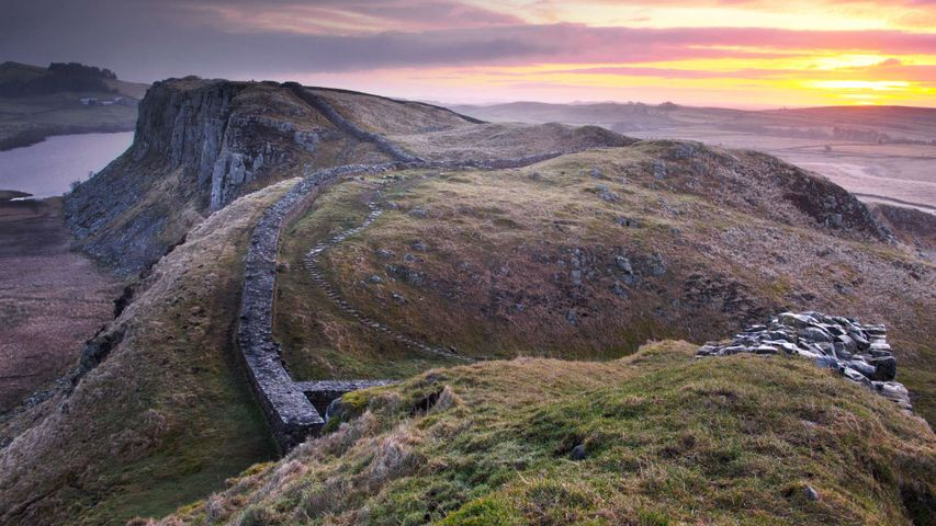Sunrise over Hadrian's Wall at Steel Rigg in Northumberland
