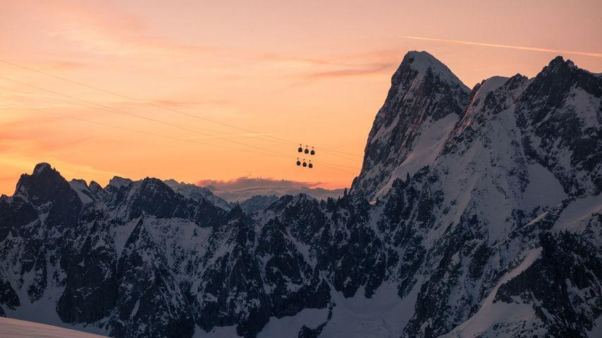 Vue depuis le refuge des Cosmiques sur les Grandes Jorasses, massif du Mont-Blanc, Alpes françaises
