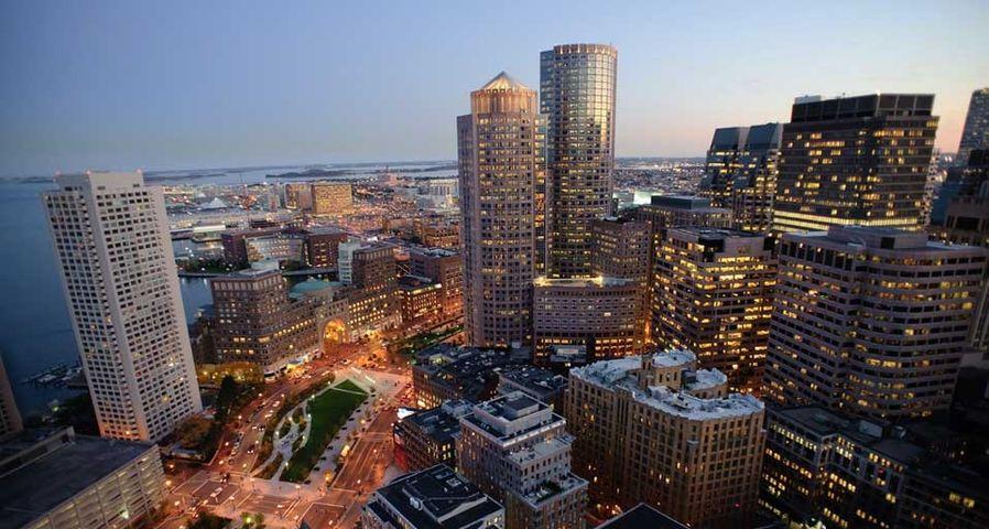 Illuminated Boston skyline at night, skyscraper, Massachusetts