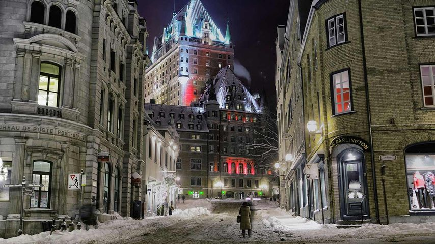Das Château Frontenac nach einem Schneesturm, Québec, Provinz Québec, Kanada