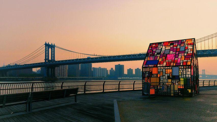 'Kolonihavehus, 2010' by Tom Fruin in Brooklyn Bridge Park, New York, USA