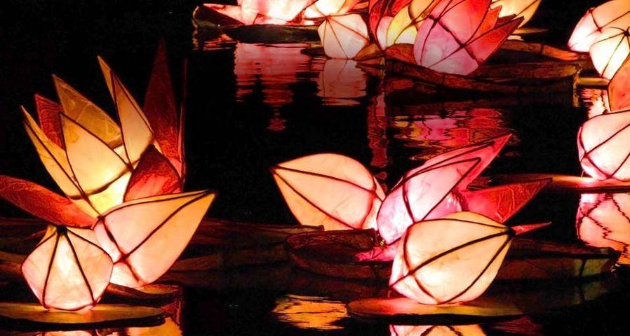 Mit Kerzen beleuchtete Laternen auf dem Trafalgar Square in London während des Diwali-Lichterfestes