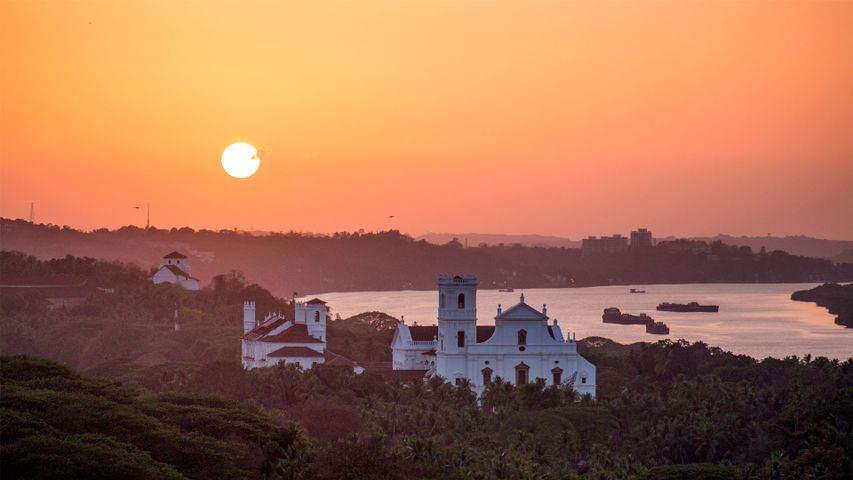 Sunset view in the Old Goa city
