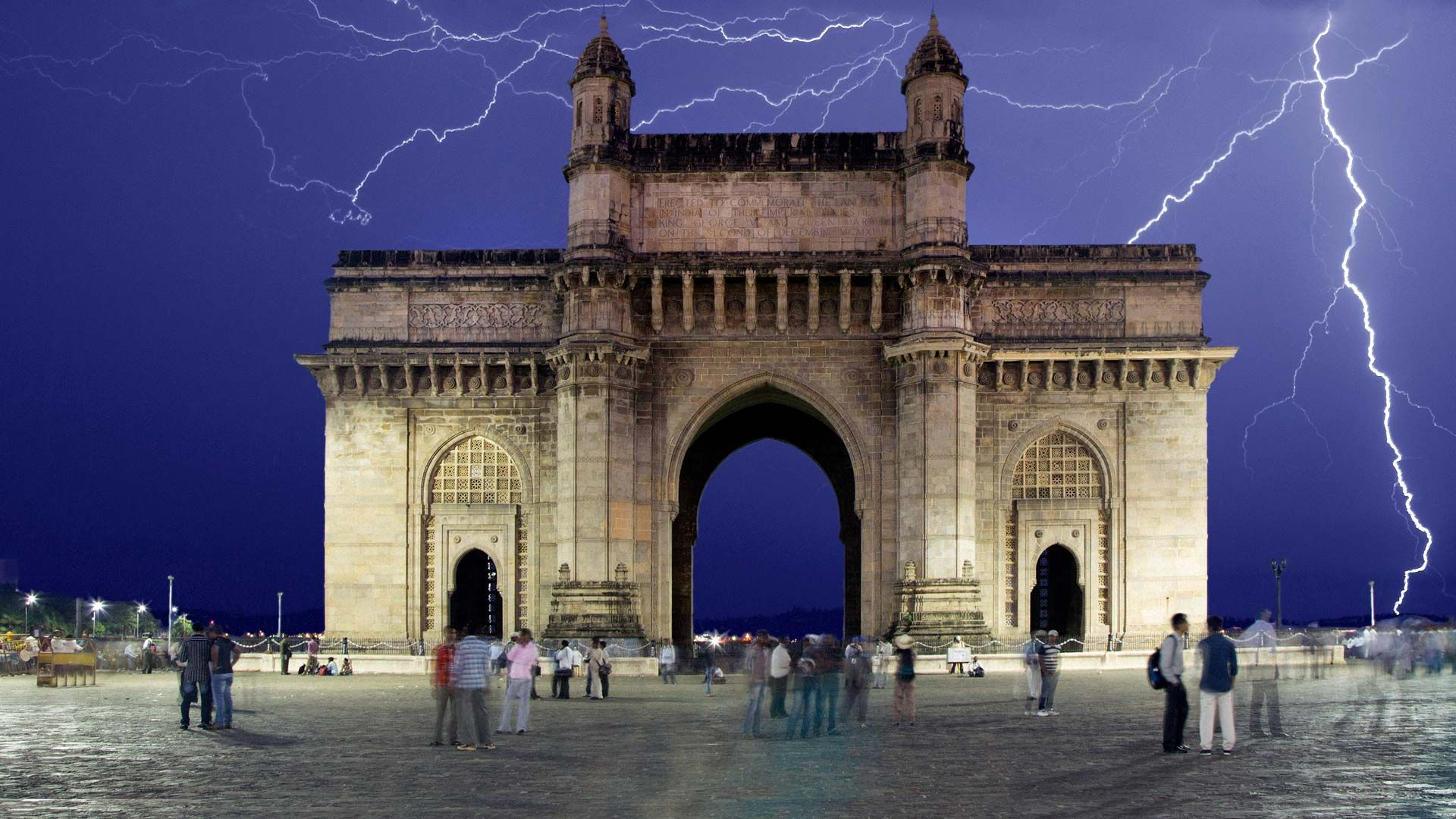 View of the Gateway of India during a storm