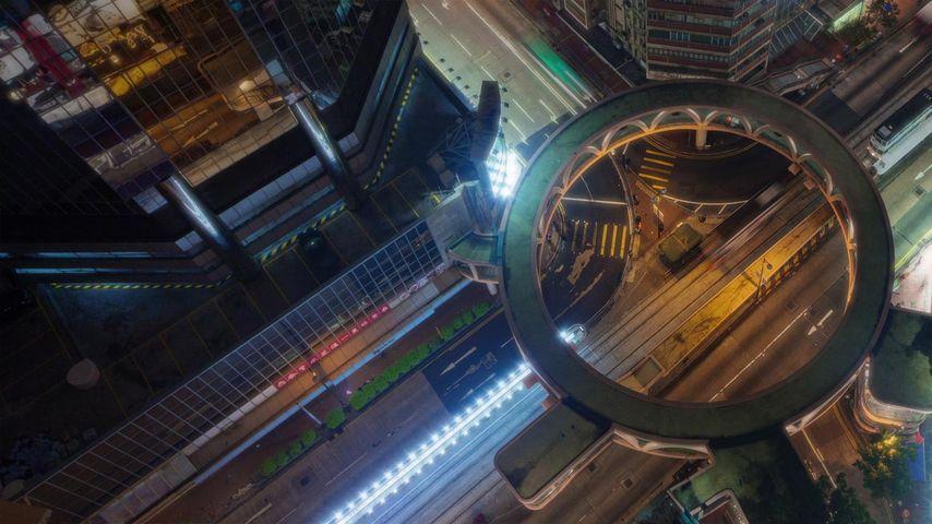 湾仔区的行人天桥,香港