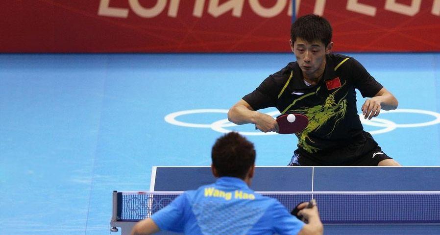 2012年8月2日伦敦ExCeL国际展览中心男单乒乓球金牌争夺战,张继科对阵王皓