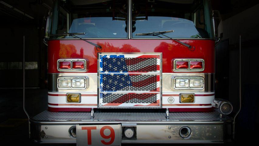 A fire department ladder truck in Fresno, California