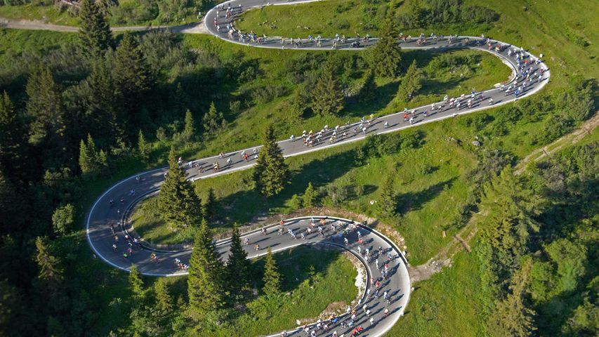 The Maratona dles Dolomites cycling race in Italy